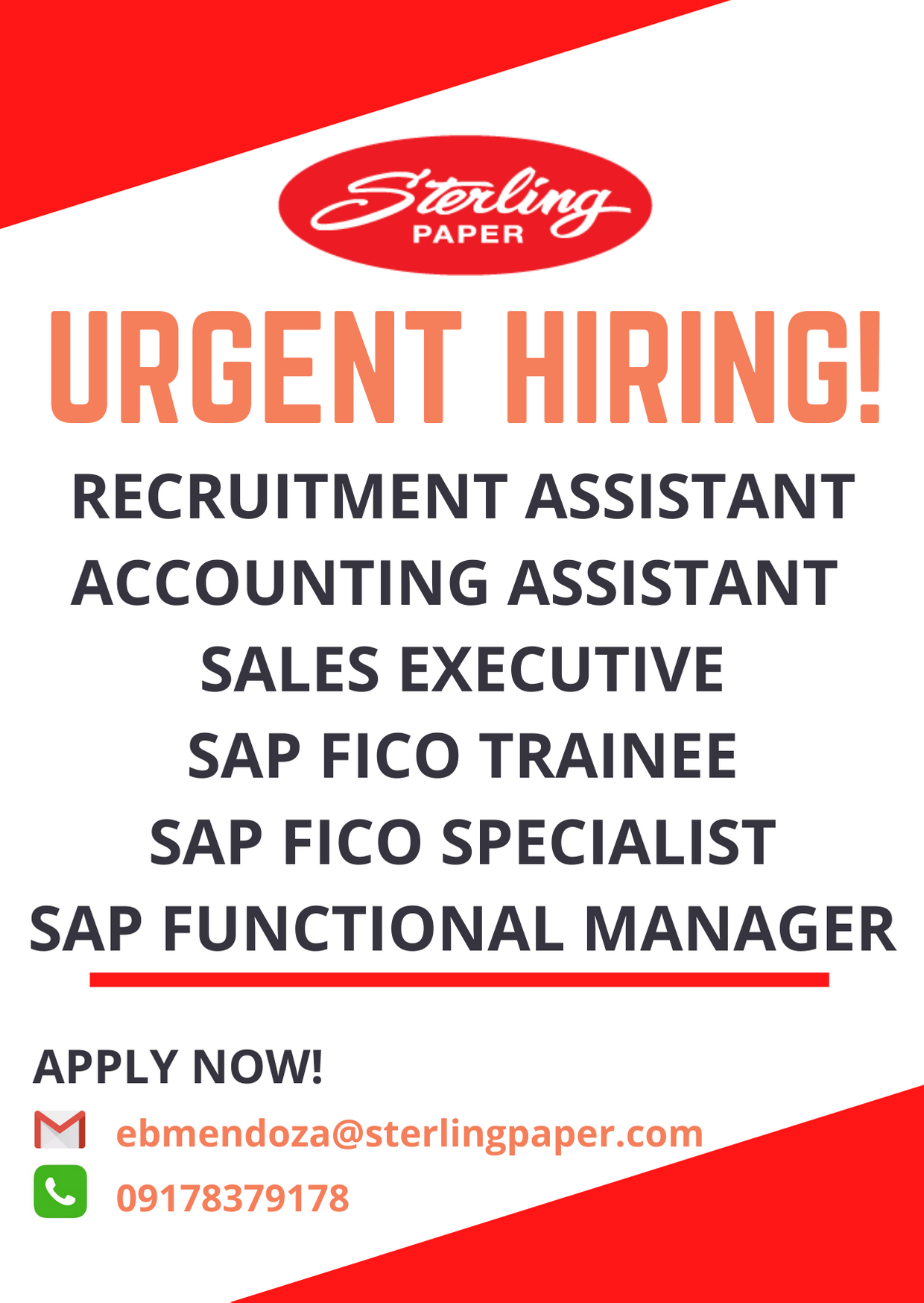 Sap Trainee/specialist from STERLING PAPER GROUP OF COMPANIES