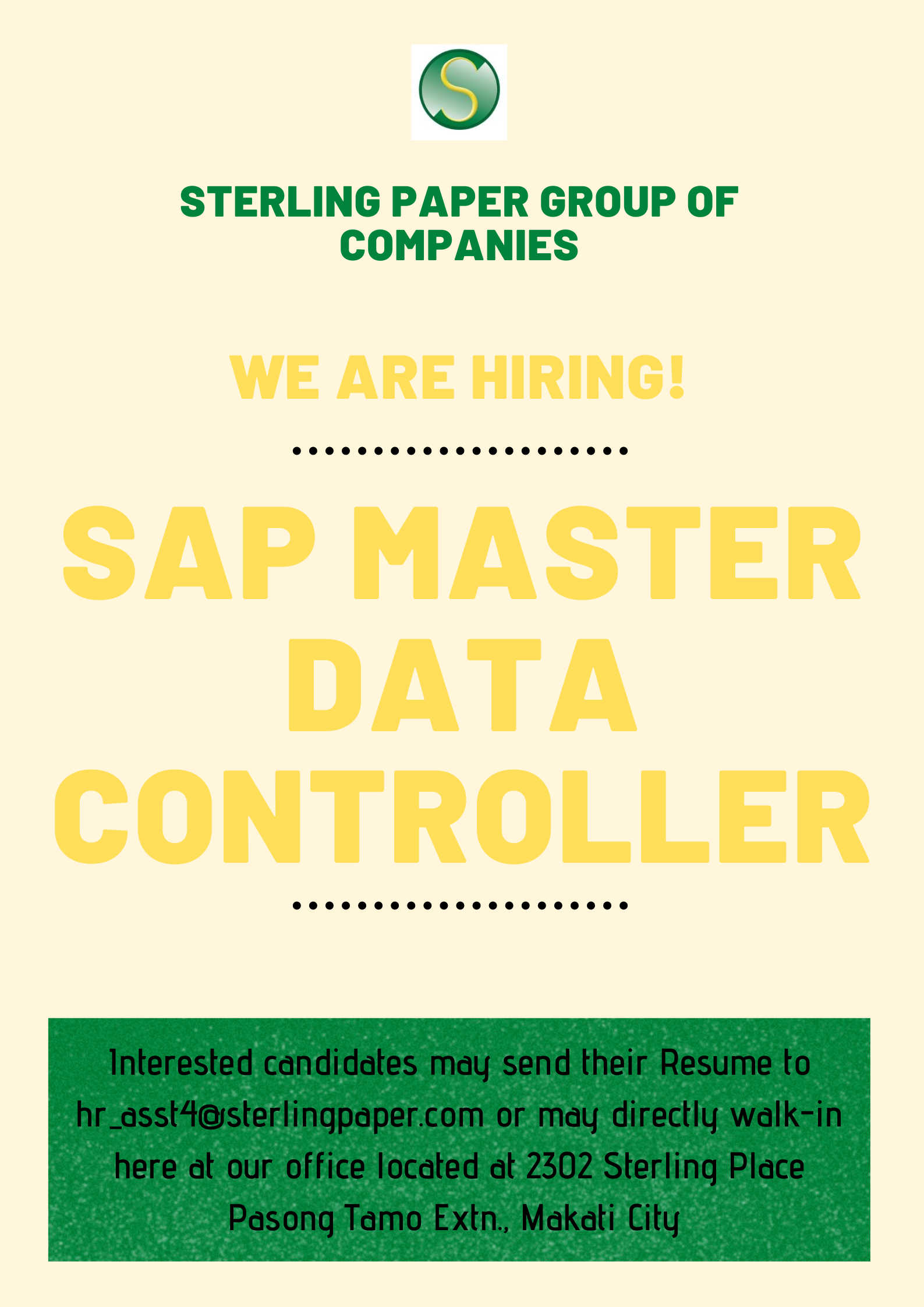 Sap Master Data Controller from STERLING PAPER GROUP OF COMPANIES