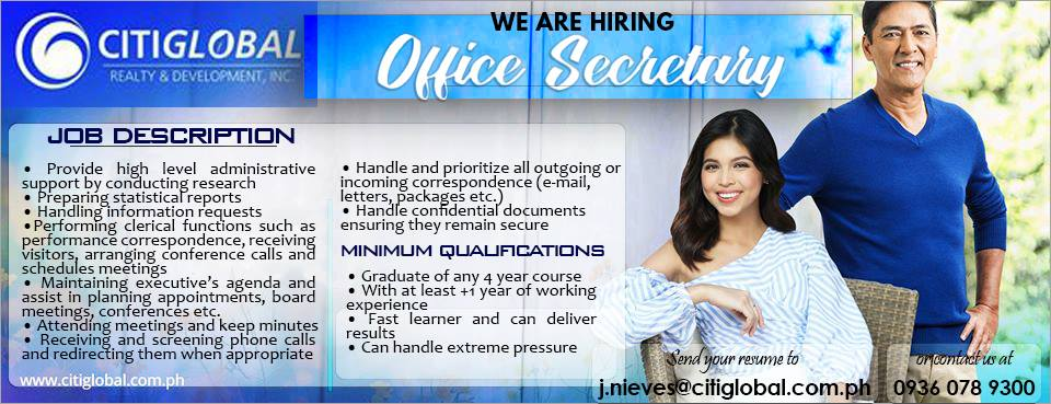 Office Secretary from CitiGlobal Realty and Development Inc.