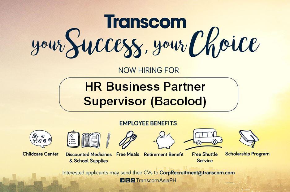 HR Business Partner Supervisor for Bacolod from Transcom PH
