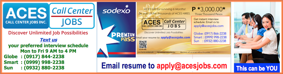 Call Center Agents Upto 25k Salary Night Shift Metro Manila from ACES Call Center Jobs Inc.