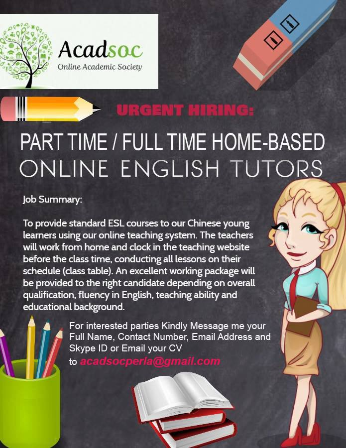 Acadsoc from Cebu City is Looking for a Online English Tutor