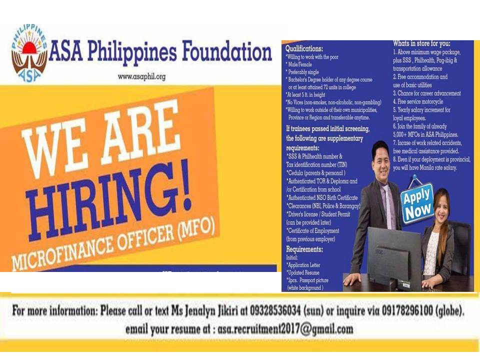 MICROFINANCE OFFICER from ASA Philippines Foundation