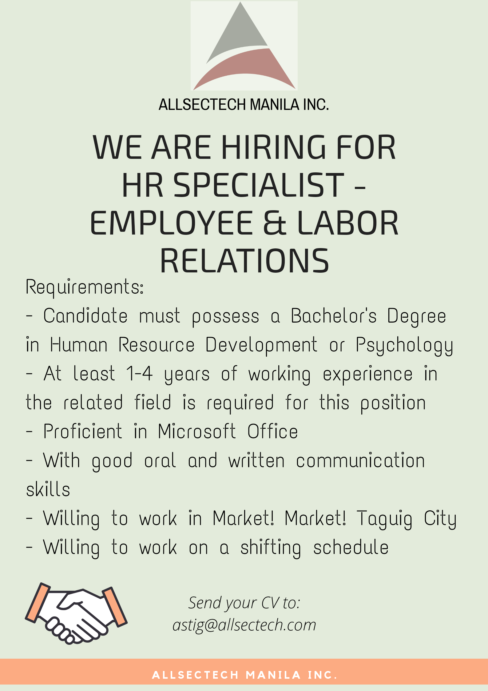 Hr Officer from Allsectech Manila Inc.