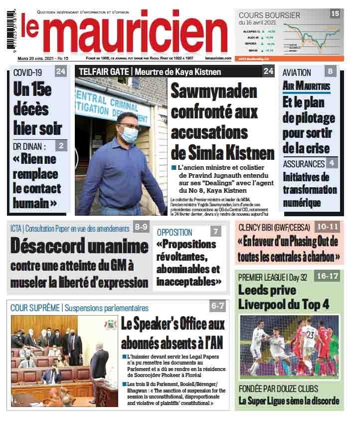 Le mauricien du 20 avril 2020 - Le Mauricien