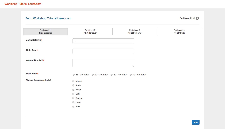 formulir data tambahan Loket