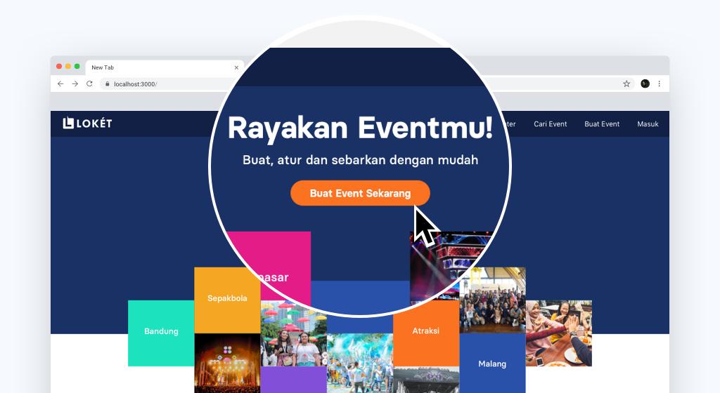 Buka Loket.com dan klik button buat event