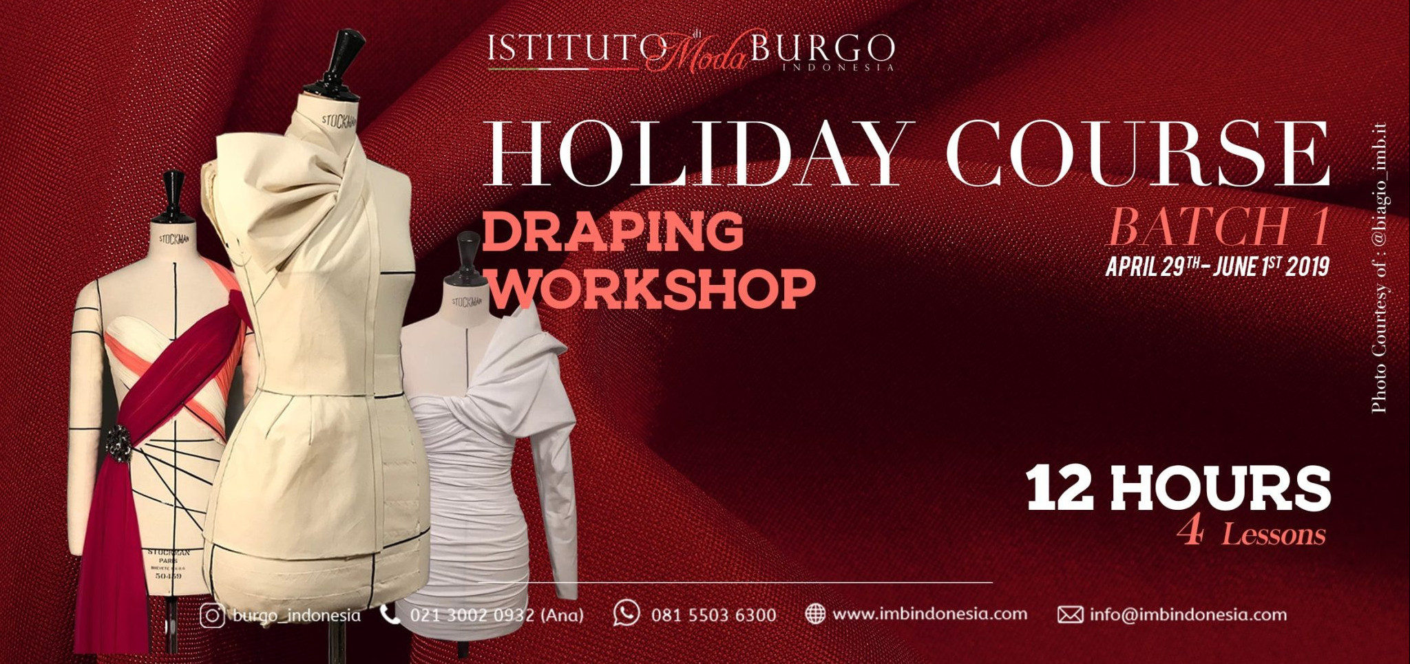 finest selection 9aed3 e5420 Jual Tiket DRAPING WORKSHOP (12Hours)-FASHION HOLIDAY COURSE ...