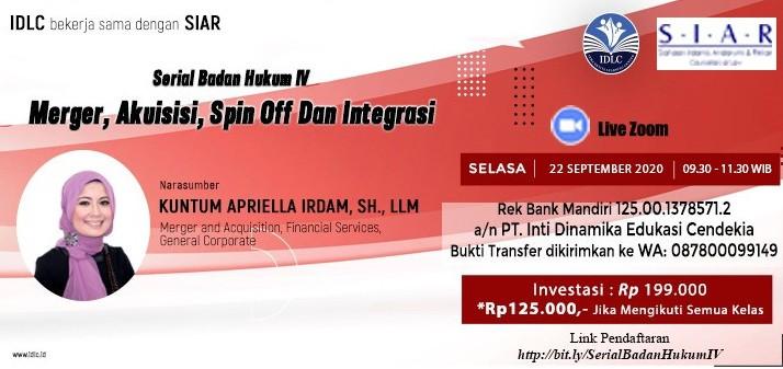 """Serial Badan Hukum IV """"Merger, Akuisisi, Spin Off Dan Integrasi"""""""