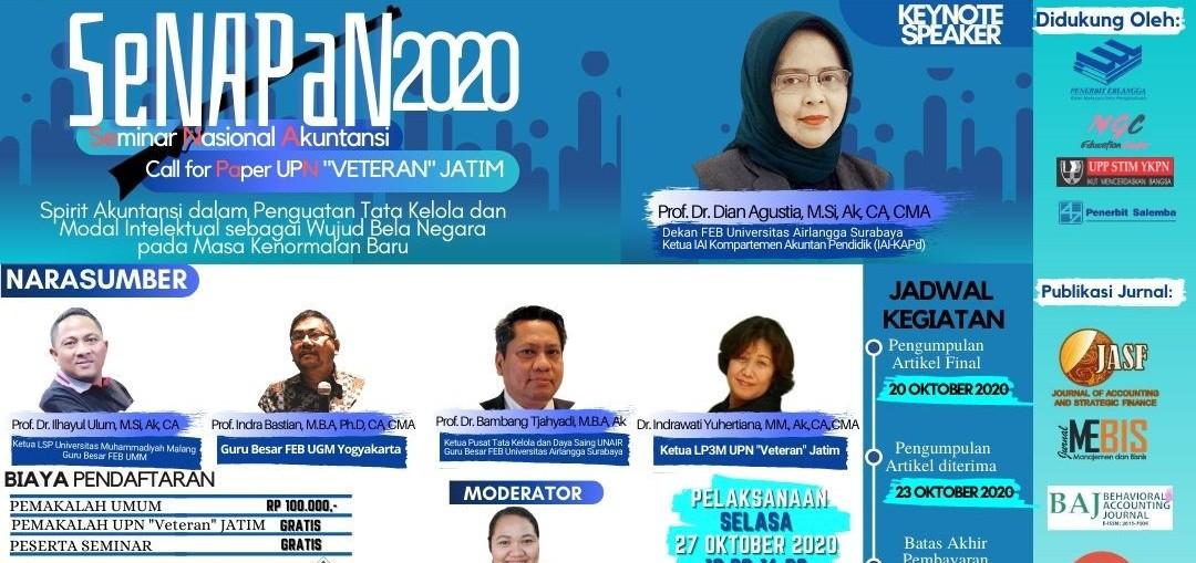 """Seminar Nasional Akuntansi dan Call fo Paper (SeNAPaN) 2020 dengan tema  """"Spirit Akuntansi dalam Pen"""