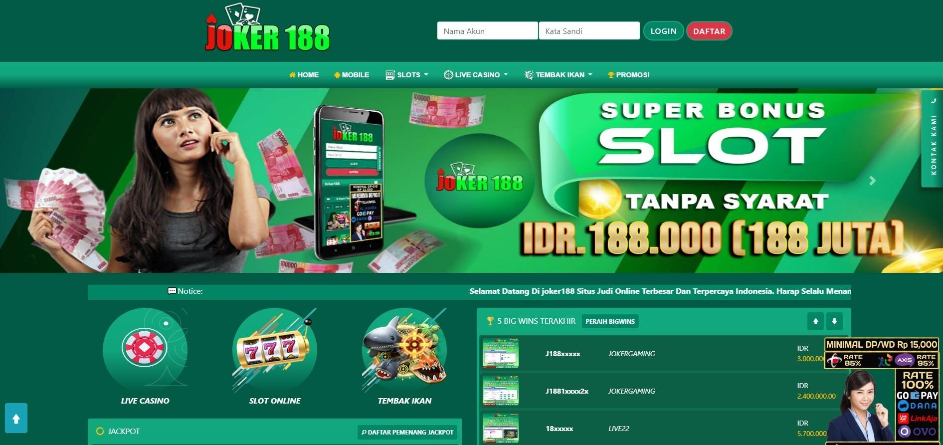 Jual Tiket Joker188 Situs Mesin Slots Online Deposit Aplikasi Ovo Loket Com