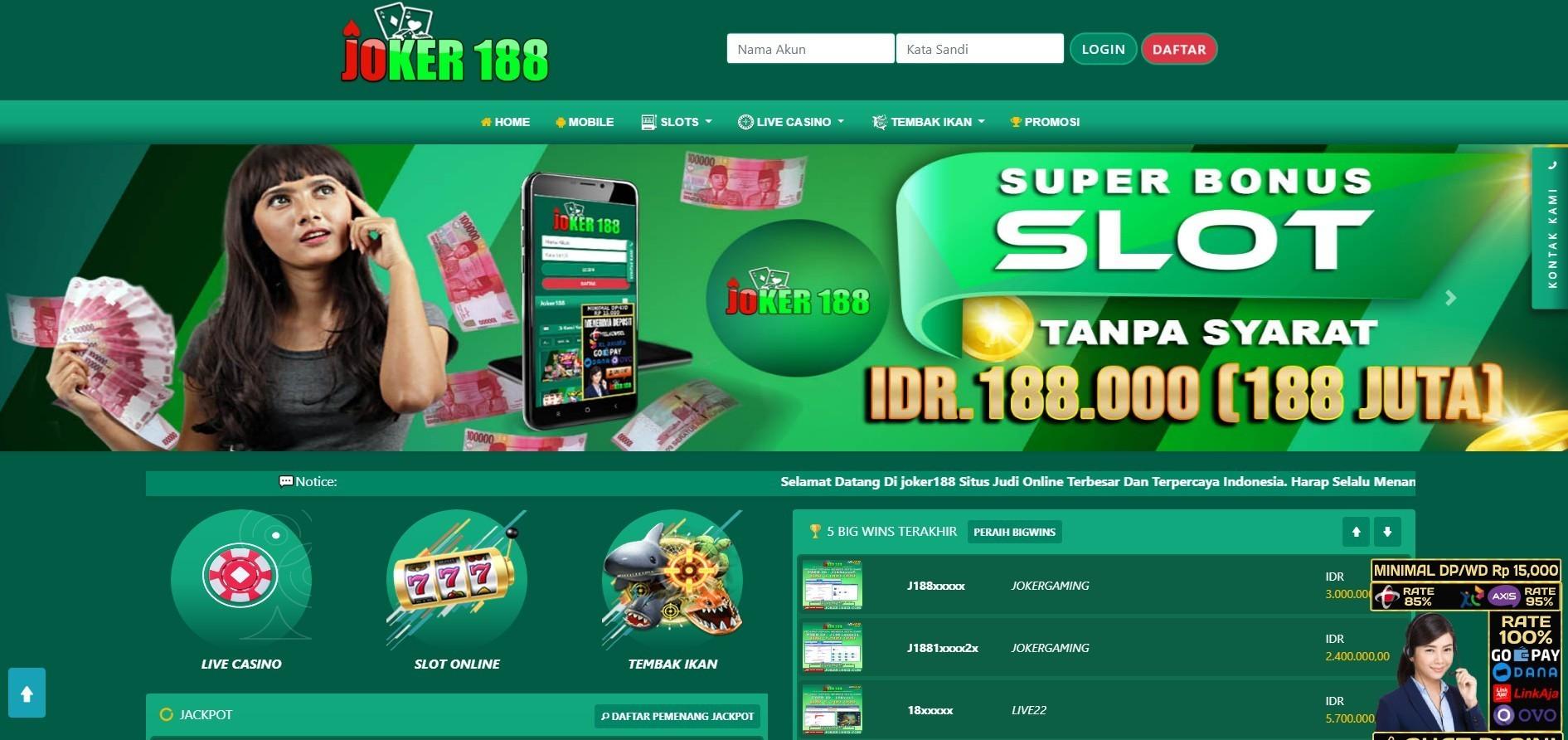 Jual Tiket Joker188 Situs Mesin Slots Online Deposit Aplikasi Gopay Loket Com