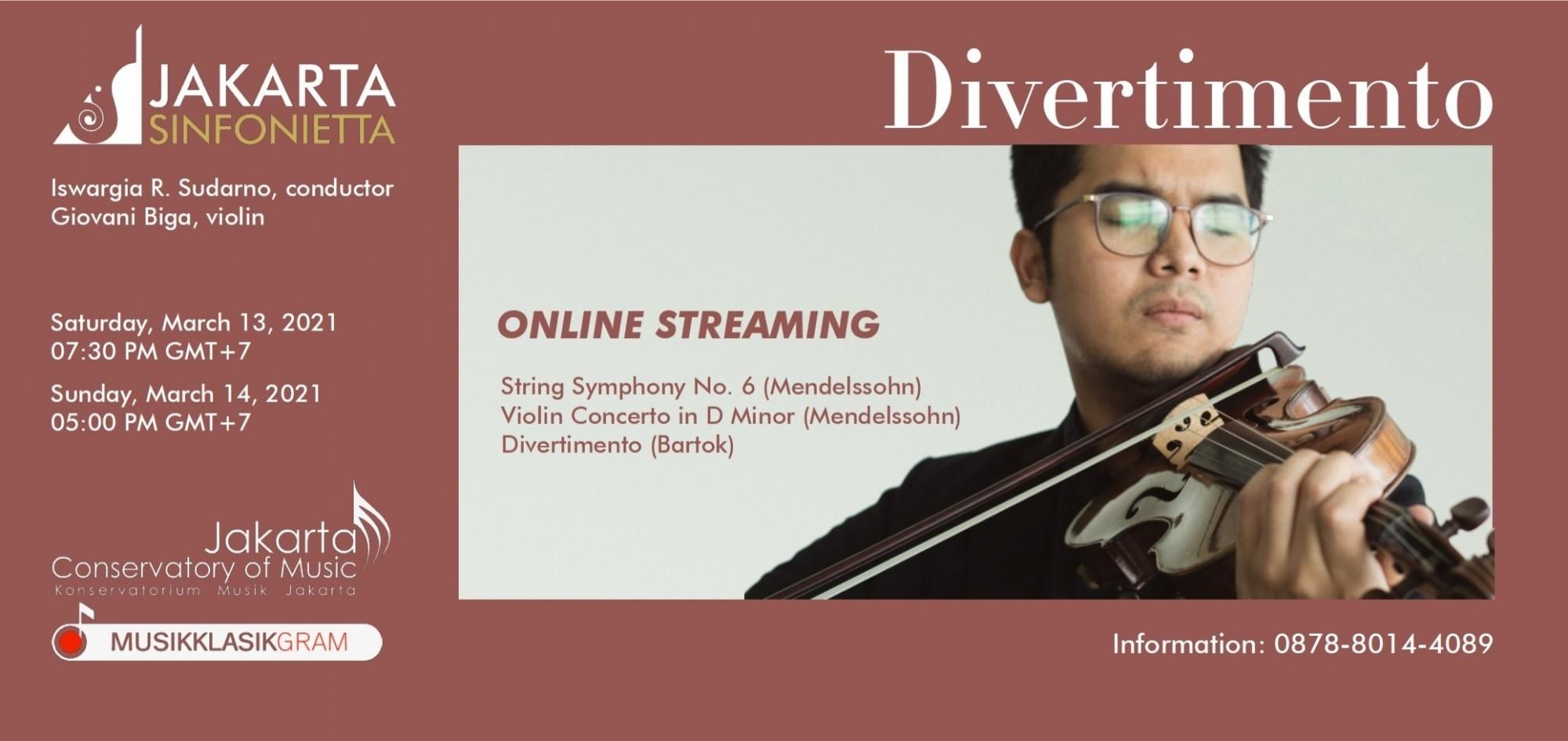 Jakarta Sinfonietta & Giovani Biga - Divertimento (13 March 2021)