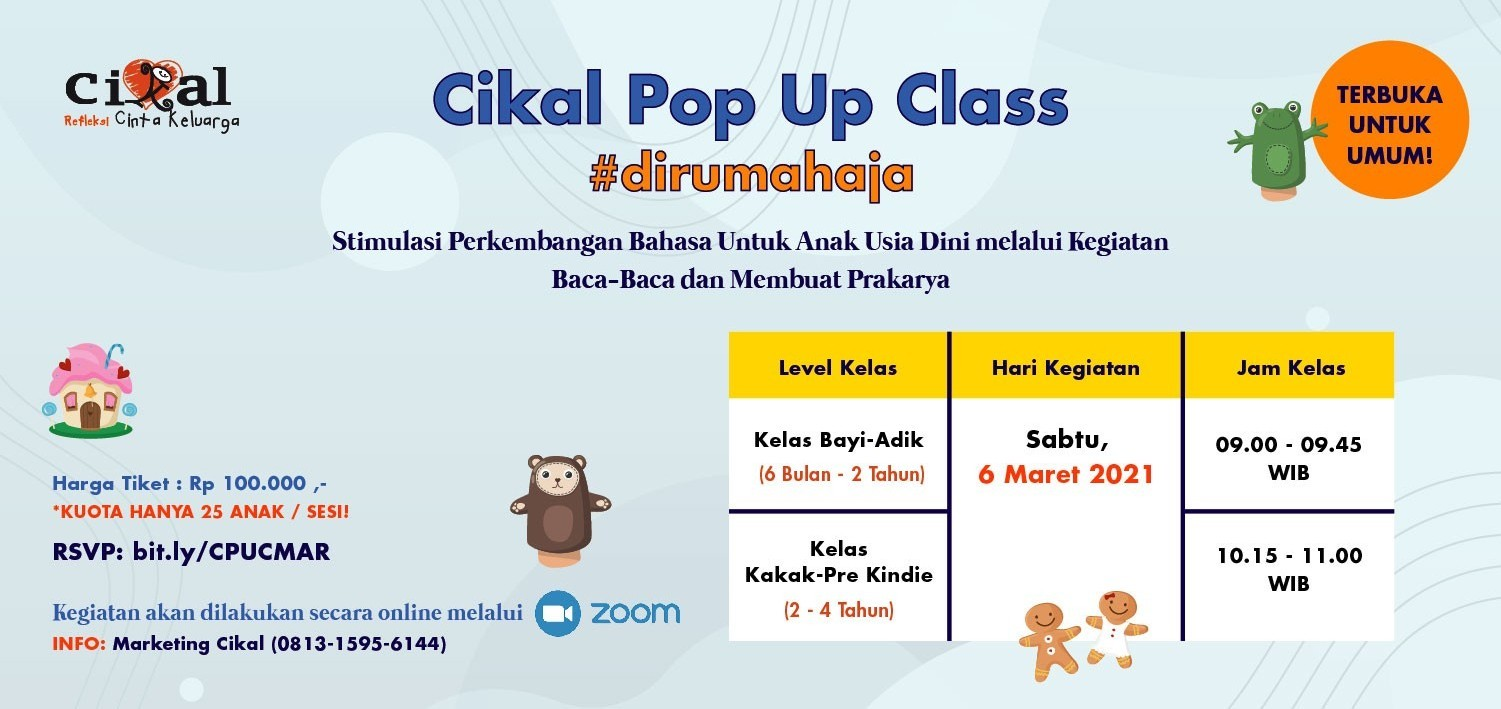 Cikal Pop Up Class #dirumahaja 6 Maret 2021
