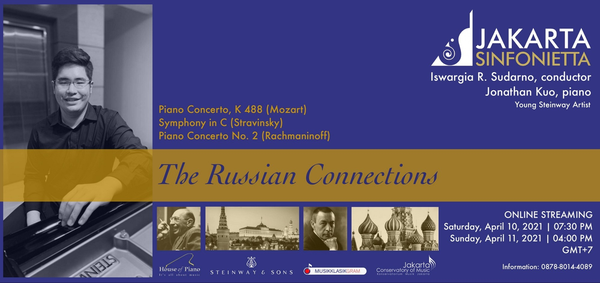 Jakarta Sinfonietta  Jonathan Kuo (Young Steinway Artist) - The Russian Connections 10/04/21