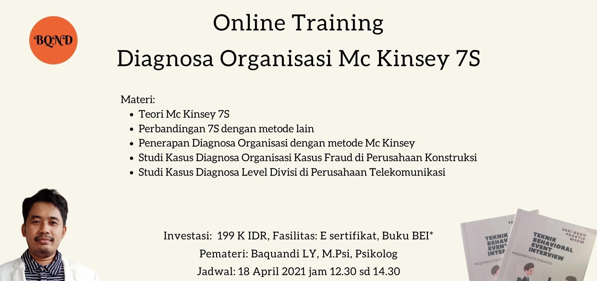 Training Diagnosa Organisasi Metode Mc Kinsey 7S Basic