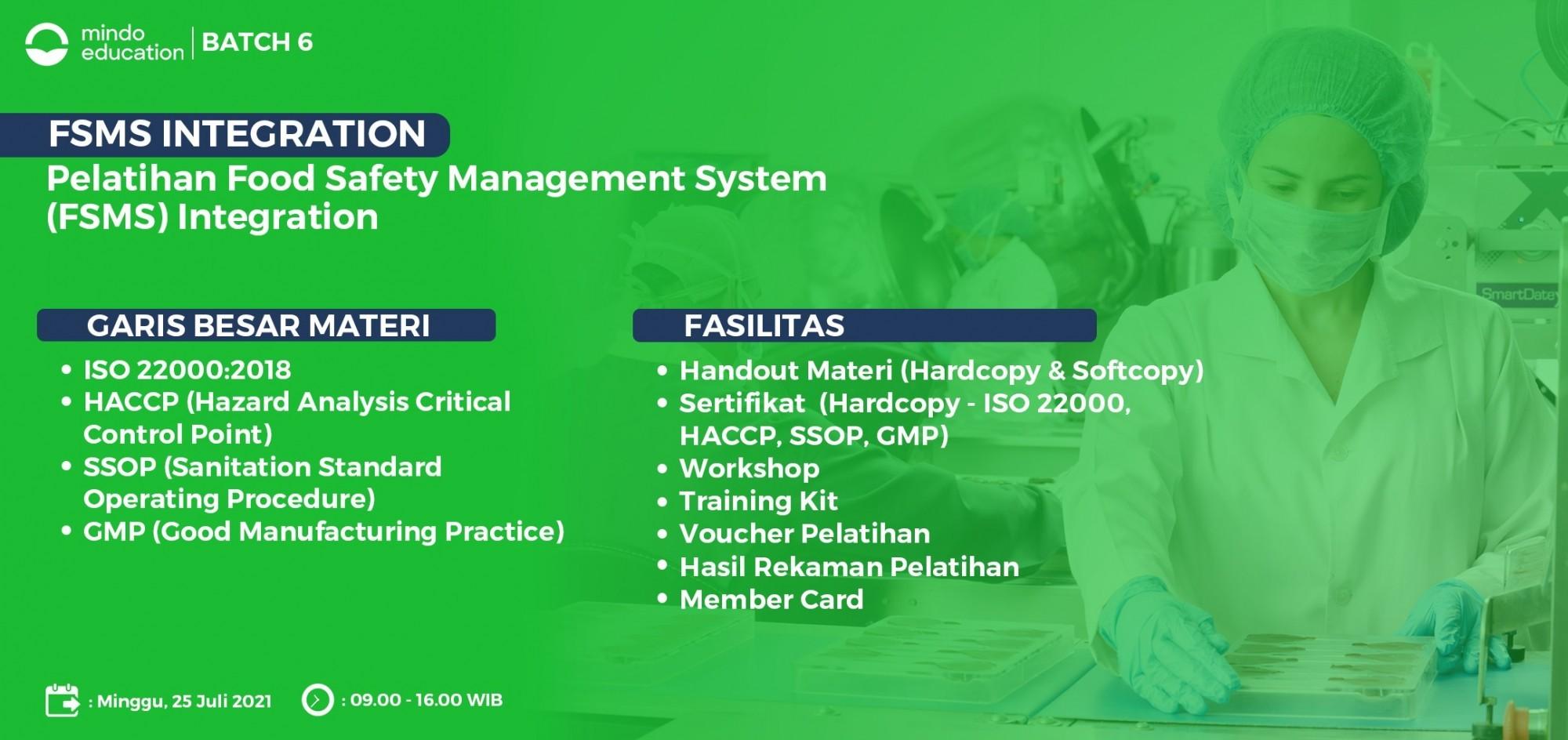 Pelatihan Food Safety Management System (FSMS) Integration