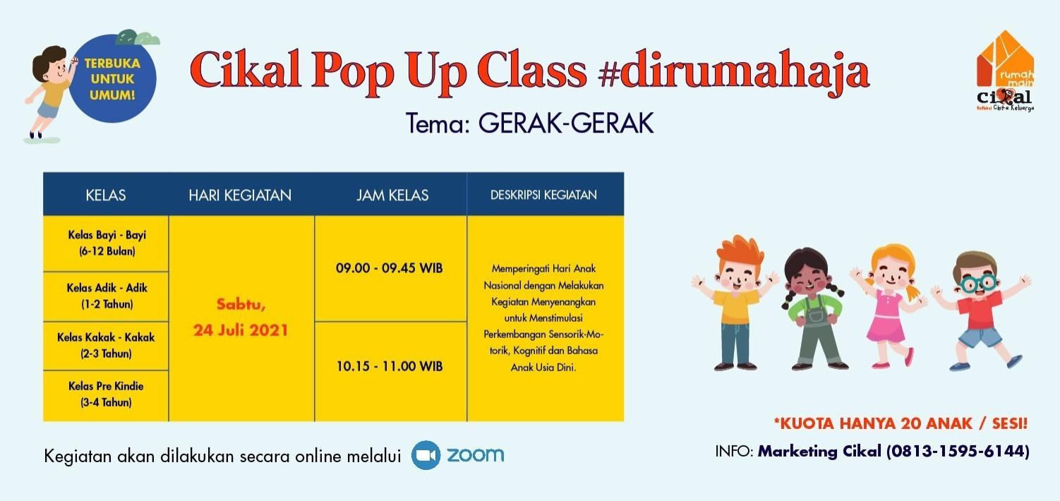 Cikal Pop Up Class #dirumahaja 24 Juli 2021