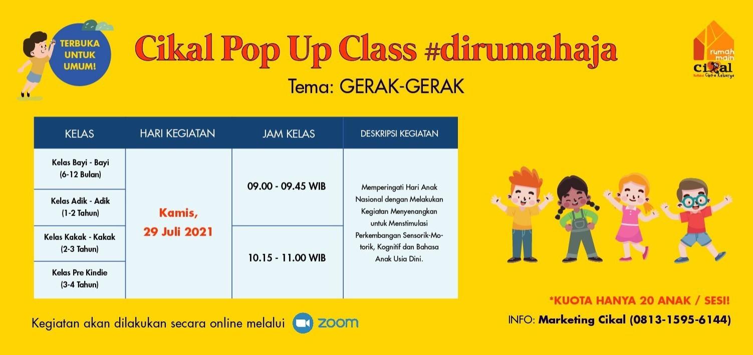 Cikal Pop Up Class #dirumahaja 29 Juli 2021