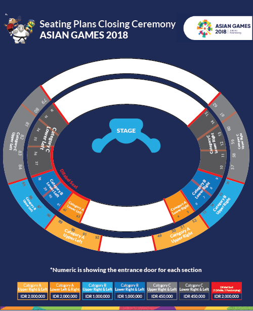 Daftar harga tiket closing ceremony Asian Games 2018