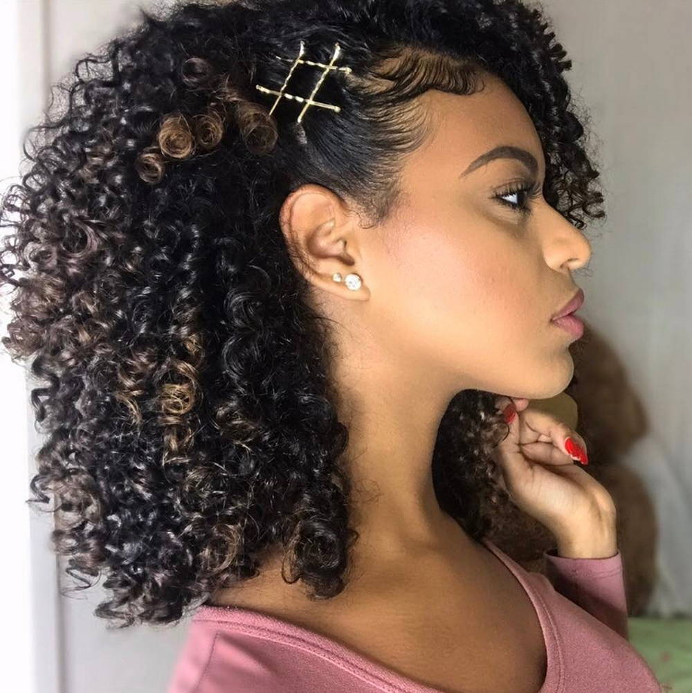 curly hairstyle pinned
