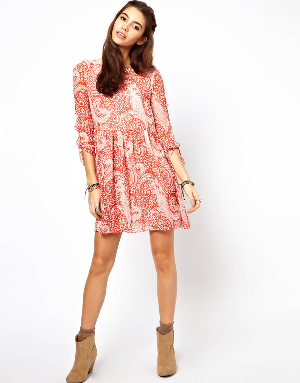Asos paisley red dress