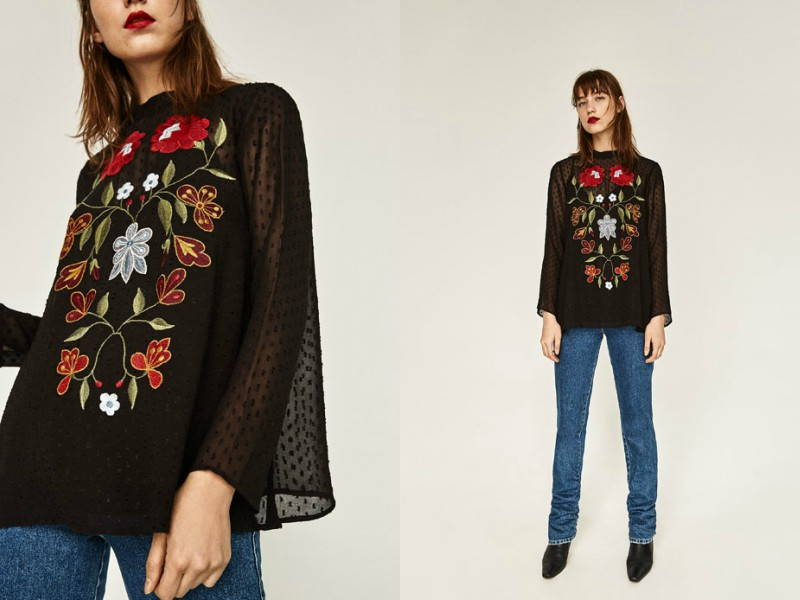 embroidered blouse zara