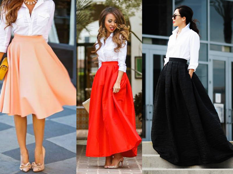 Button Shirt with Long Skirt