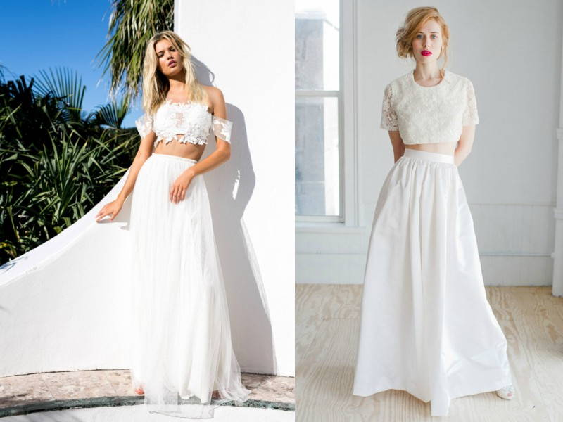 midriff baring wedding dress