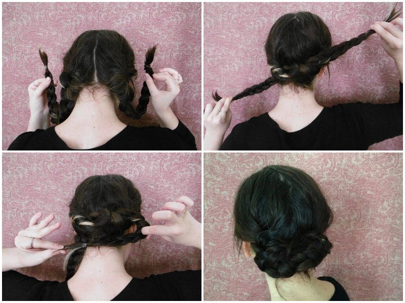 Pigtail braid updo easy