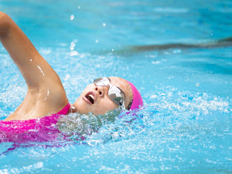 Woman swimming googles