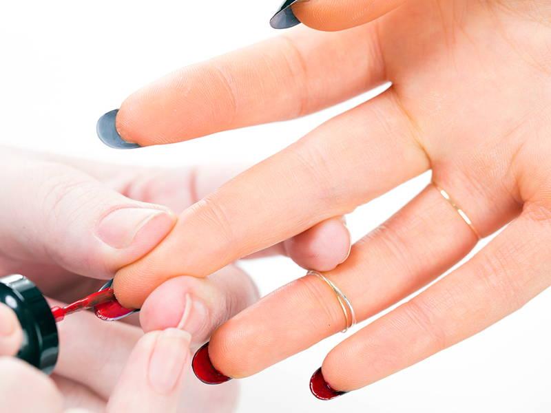 painted nail underside