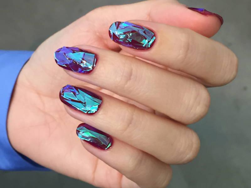 broken glass nail art