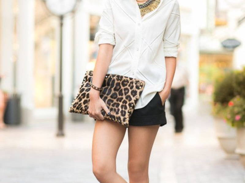 stylish ways to wear white shirt with shorts