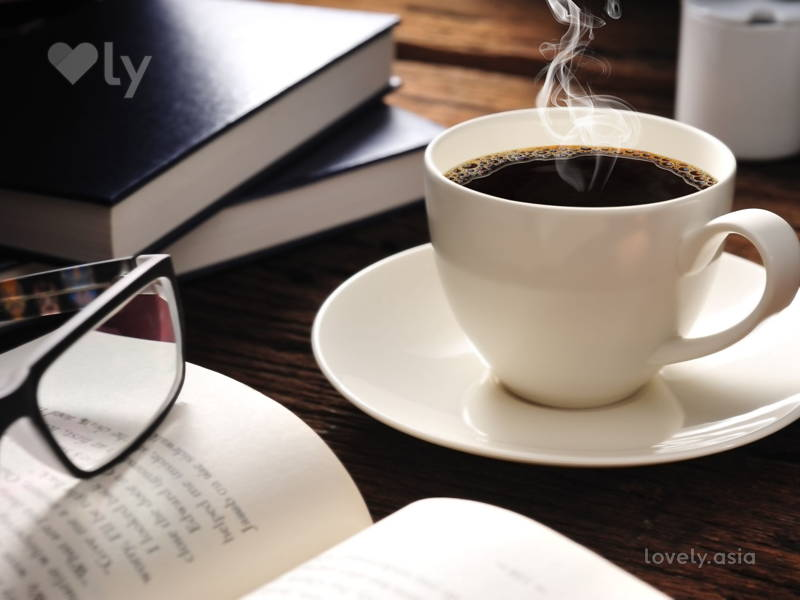 coffee, glasses and book