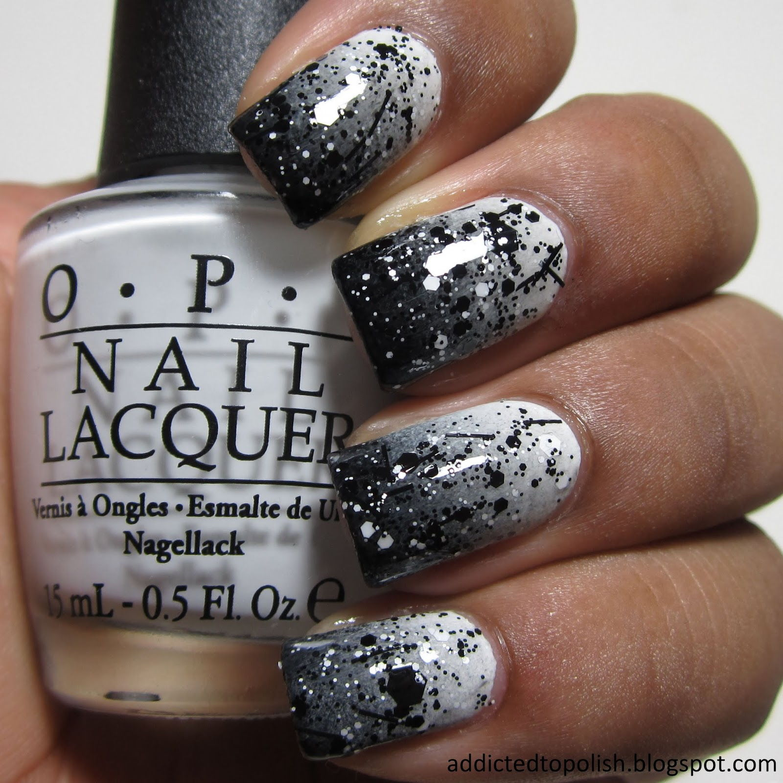 Black white ombre nails