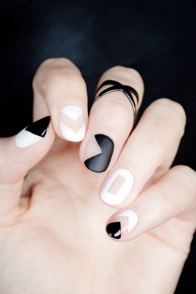 black and white blank space nails