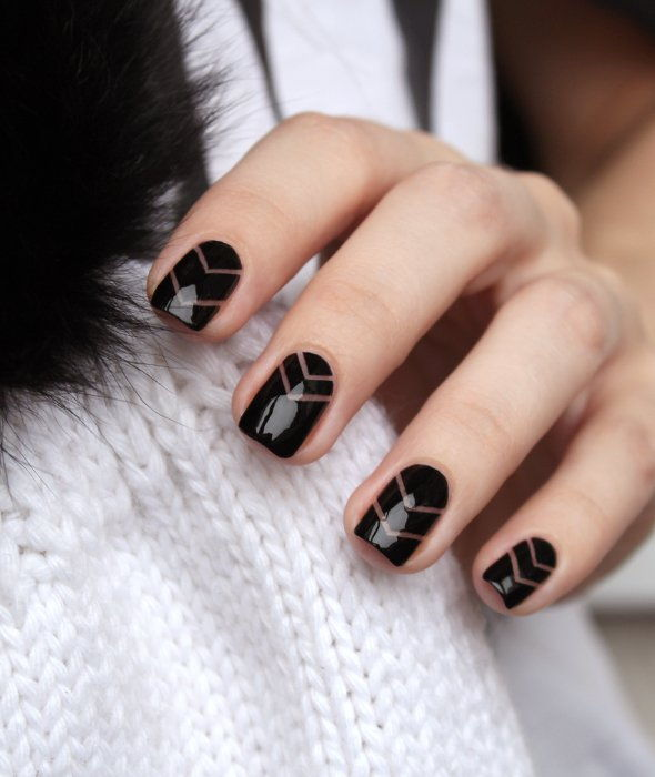 black blank space nail art