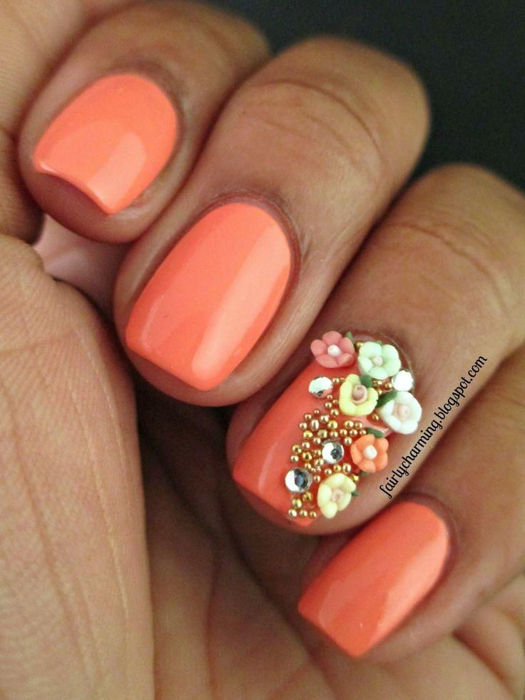Spring orange nails