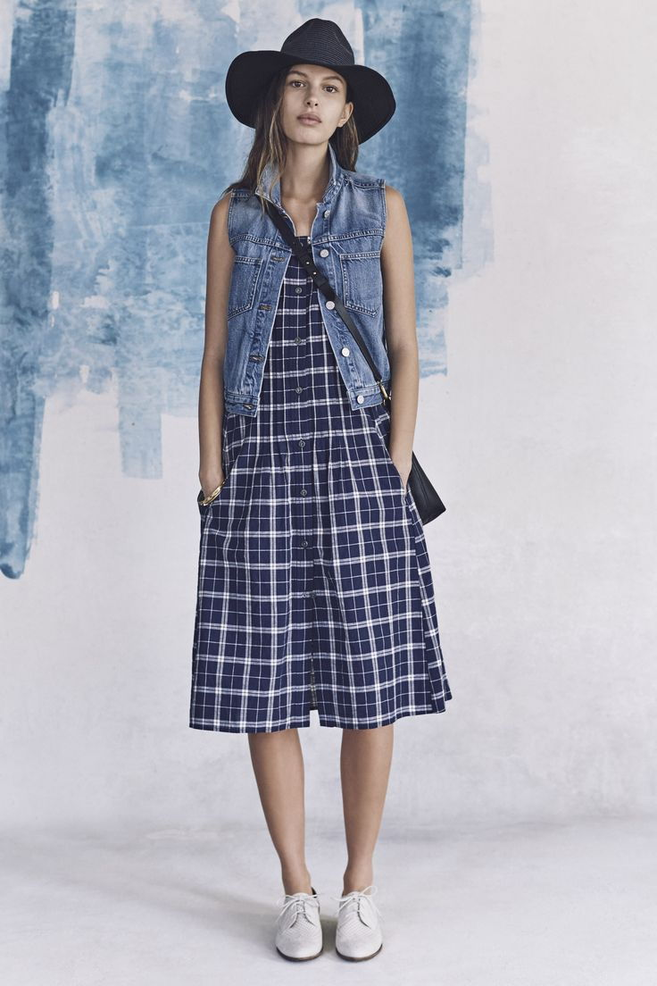Denim vest plaids dress