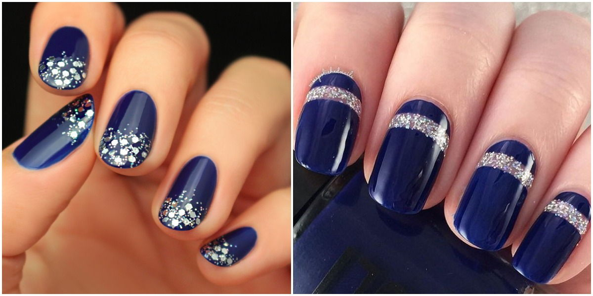 Blue nails glitter manicure