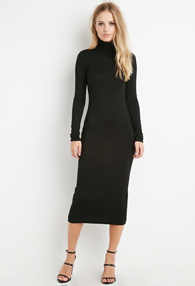 Black turtle neck dress