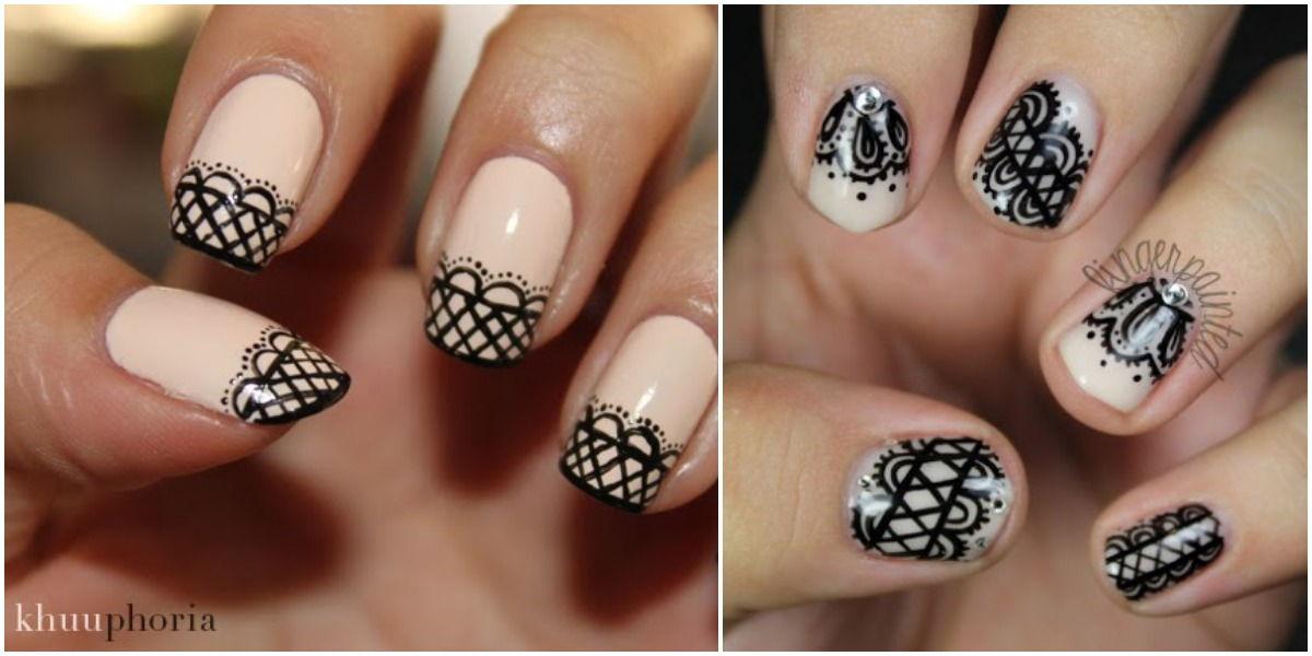 Lace nail art manicure
