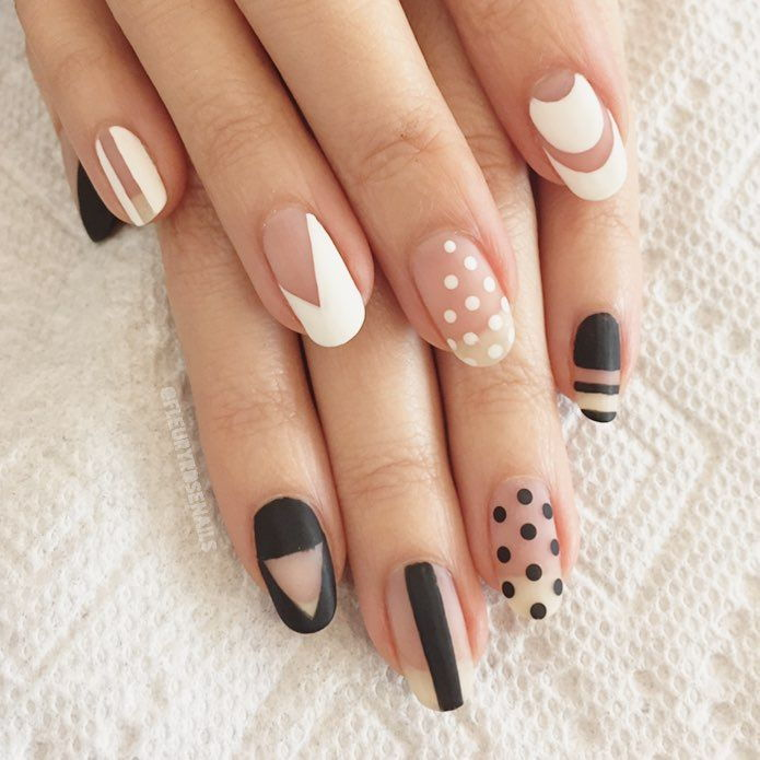 polka dot and lines nails