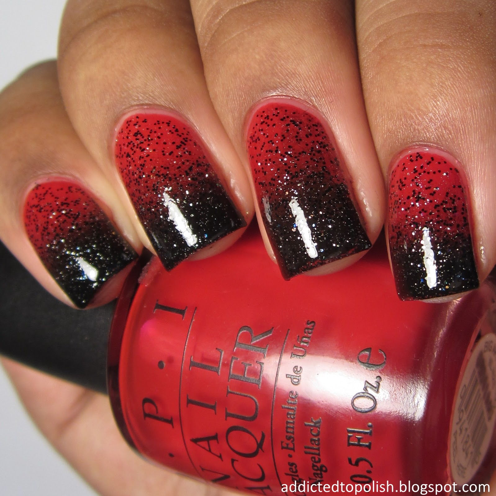 black red ombre nails