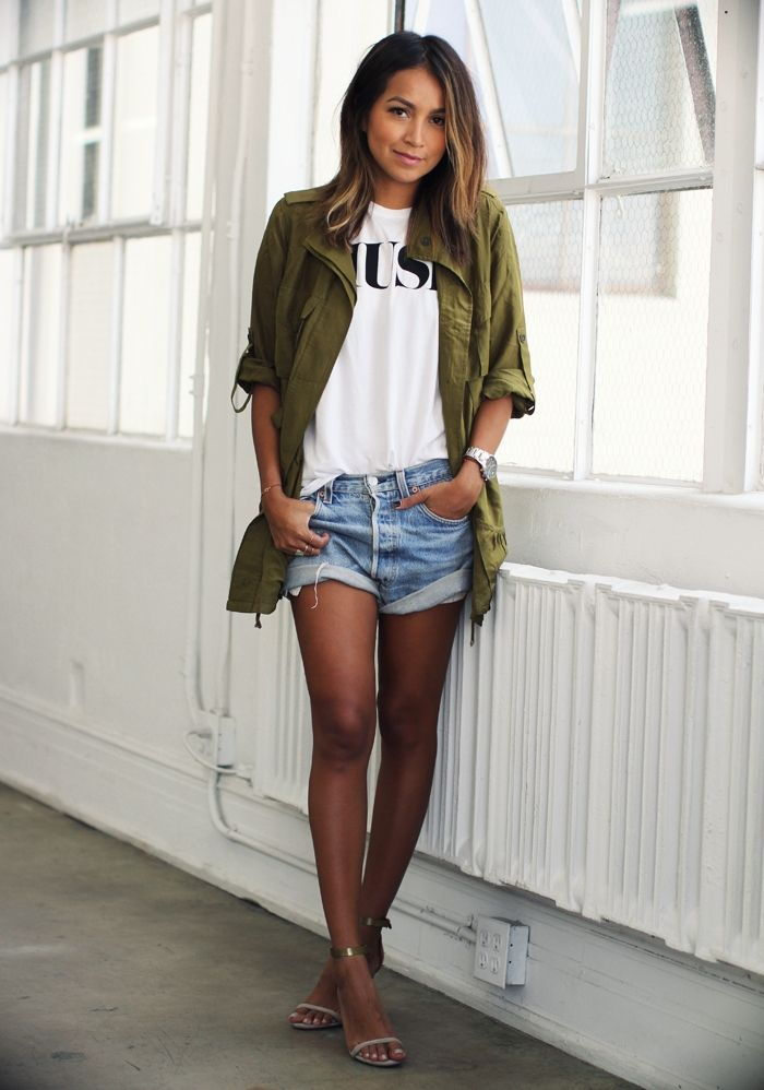 Parka denim shorts outfit