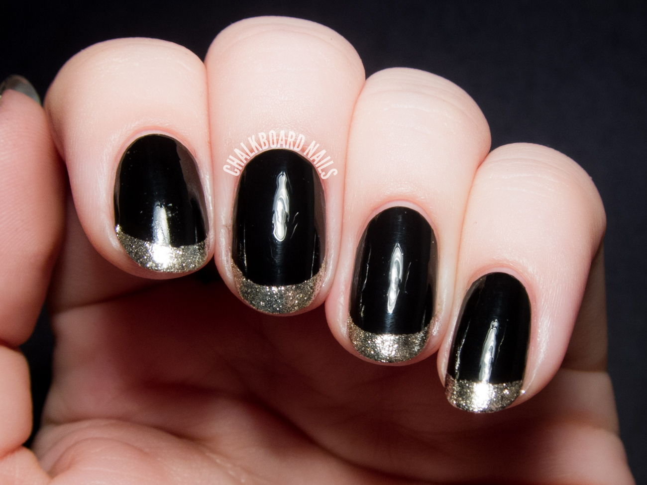 Black gold French manicure