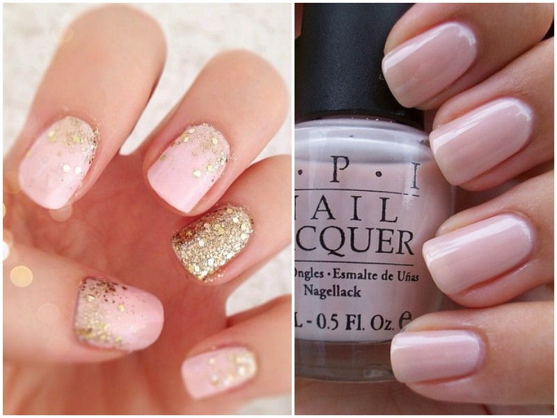 Blush colour nails