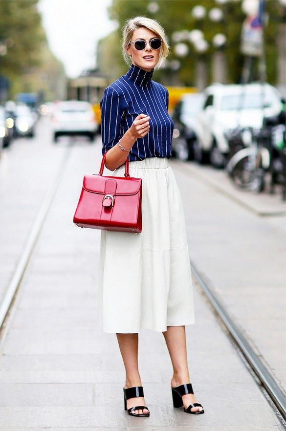 midi skirt and mules