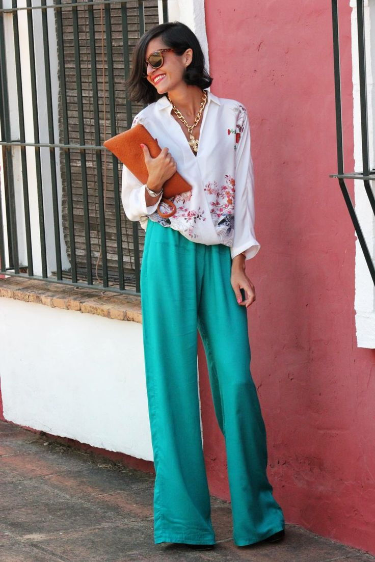 floral top with palazzo pants